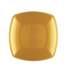 Plastic Plate Flat Gold Square shape PP 23 cm (12 Units)
