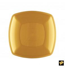 Plastic Plate Flat Gold Square shape PP 18 cm (12 Units)
