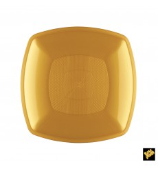 Plastic Plate Flat Gold Square shape PP 18 cm (300 Units)