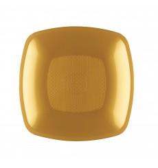 Plastic Plate Deep Gold Square shape PP 18 cm (12 Units)