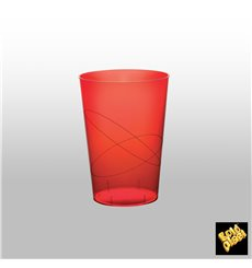 "Plastic Cup PS ""Moon"" Red Clear 230ml (1000 Units)"