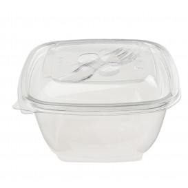 Plastic Bowl PET Square Shape 375ml 125x125x50mm (50 Units)