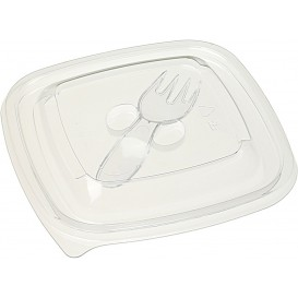 Plastic Lid for Bowl with Plastic Fork 125x125mm (500 Units)