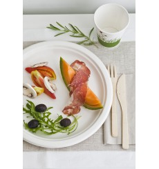 Sugarcane Plate White Ø23 cm (50 Units)