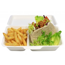 Sugarcane Hinged Burger Container 24,0x12,5x6,5cm (400 Units)