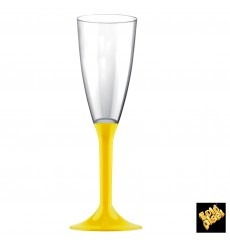 Plastic Stemmed Flute Sparkling Wine Yellow 120ml 2P (20 Units)