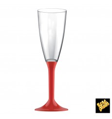 Plastic Stemmed Flute Sparkling Wine Red 120ml 2P (20 Units)