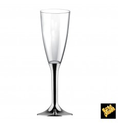 Plastic Stemmed Flute Sparkling Wine Silver Chrome 120ml 2P (20 Units)