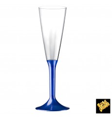 Plastic Stemmed Flute Sparkling Wine Blue Pearl 160ml 2P (20 Units)