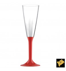 Plastic Stemmed Flute Sparkling Wine Red 160ml 2P (20 Units)