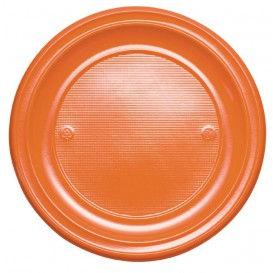 Plastic Plate PS Flat Orange Ø22 cm (30 Units)