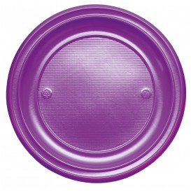 Plastic Plate PS Flat Violet Ø22 cm (30 Units)