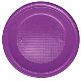 Plastic Plate PS Deep Violet Ø22 cm (30 Units)