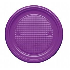 Plastic Plate PS Flat Violet Ø17 cm (50 Units)