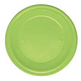 Plastic Plate PS Deep Lime Green Ø22 cm (600 Units)