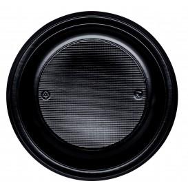 Plastic Plate PS Flat Black Ø22 cm (30 Units)