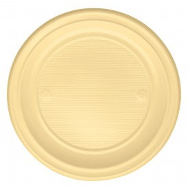 Plastic Plate PS Flat Cream Ø22 cm (30 Units)