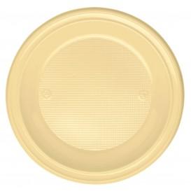 Plastic Plate PS Deep Cream Ø22 cm (600 Units)