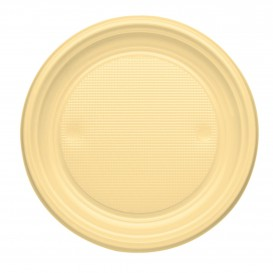 Plastic Plate PS Flat Cream Ø17 cm (1100 Units)