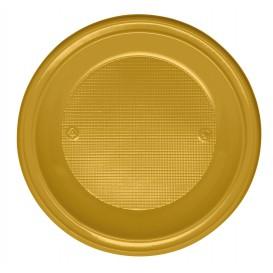 Plastic Plate PS Deep Gold Ø22 cm (30 Units)