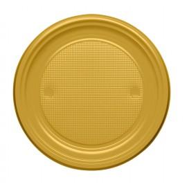 Plastic Plate PS Flat Gold Ø17 cm (1100 Units)