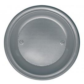 Plastic Plate PS Deep Silver Ø22 cm (30 Units)
