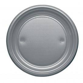 Plastic Plate PS Flat Silver Ø17 cm (50 Units)