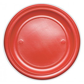 Plastic Plate PS Flat Red Ø22 cm (30 Units)