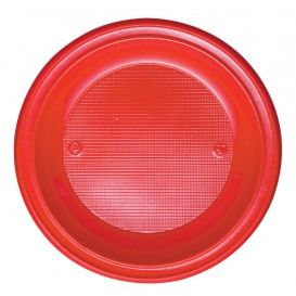 Plastic Plate PS Deep Red Ø22 cm (600 Units)