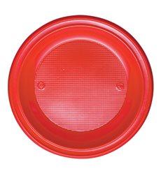 Plato de Plastico Hondo Rojo PS 220mm (600 Uds)
