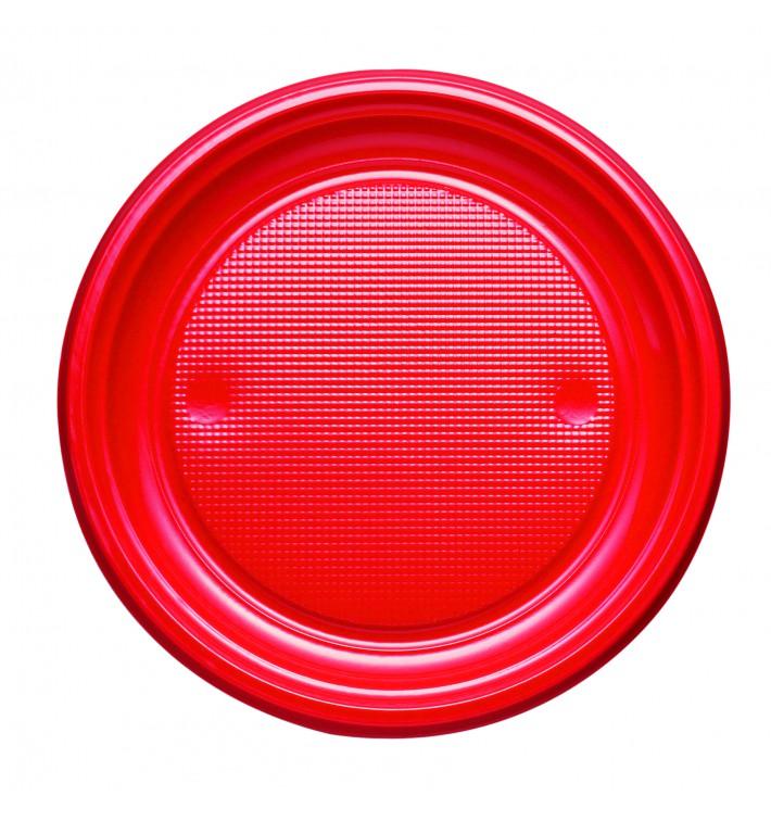 Plastic Plate PS Flat Red Ø17 cm (50 Units)