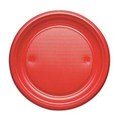 Plato de Plastico Llano Rojo PS 170mm (50 Uds)