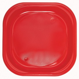 Plastic Plate PS Square shape Red 20x20 cm (1000 Units)