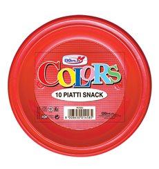 Plastic Plate PS Flat Red Ø28 cm (10 Units)