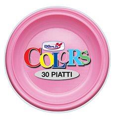 Plastic Plate PS Flat Pink Ø22 cm (780 Units)