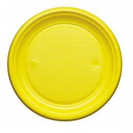 Plastic Plate PS Flat Yellow Ø22 cm (30 Units)