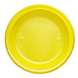 Plastic Plate PS Deep Yellow Ø22 cm (30 Units)
