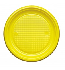Plato de Plastico Llano Amarillo PS 170mm (1100 Uds)