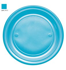 Plastic Plate PS Flat Turquoise Ø22 cm