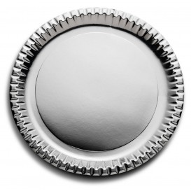 "Paper Plate Round Shape ""Party"" Silver Ø29cm (60 Units)"