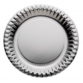 "Paper Plate Round Shape ""Party"" Silver Ø23cm (10 Units)"