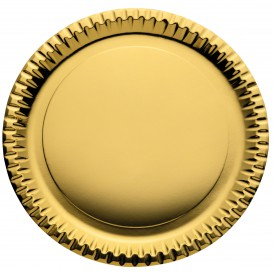 "Paper Plate Round Shape ""Party"" Gold Ø29cm (6 Units)"