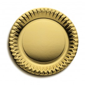 "Paper Plate Round Shape ""Party"" Gold Ø23cm (10 Units)"