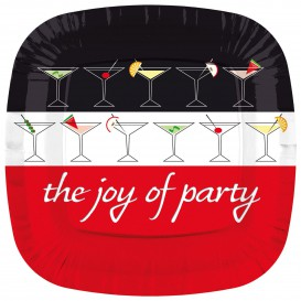 "Paper Plate Square Shape ""Joy of Party"" 23cm (8 Units)"