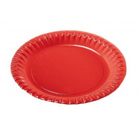 "Paper Plate Round Shape ""Party"" Red 23cm (10 Units)"