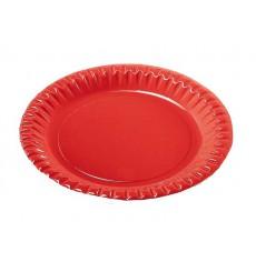 Plato de Carton Redondo Rojo 290mm (6 Uds)