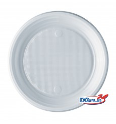 Plastic Plate PS Flat White 17 cm (100 Units)