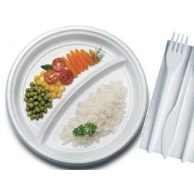 Plastic Plate PS 2 Compartments 22 cm (100 Units)