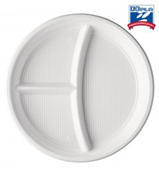Plastic Plate PS 3 Compartments White 22 cm (1400 Units)