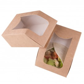 Paper Take-Out Container with Window Kraft 90x51x12cm (500 Units)